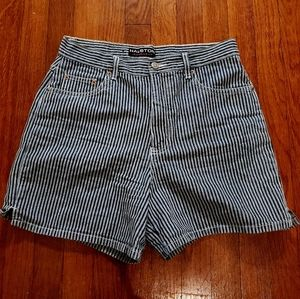 Halston High Waisted Striped Vintage Mom Shorts
